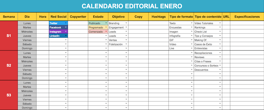 plantilla de calendario